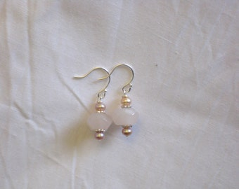 Cut Rose Quartz and Mauve Freshwater Pearl Earrings on Sterling Silver