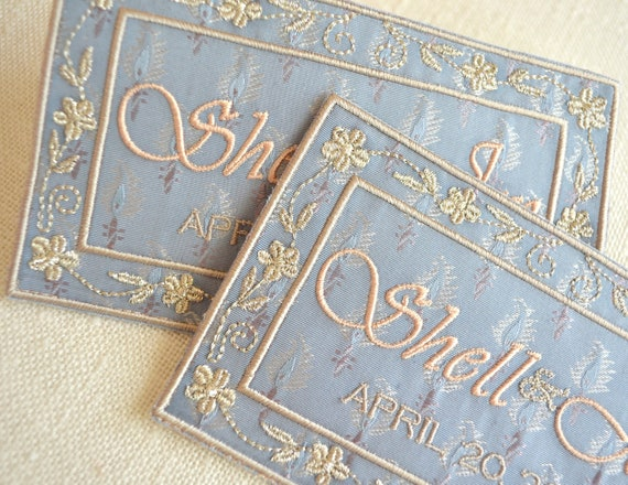 SOMETHING BLUE - Custom Embroidered Wedding Dress Label French Silk Paisley and Rose Champagne and Metallic Silver and Beige Stitching