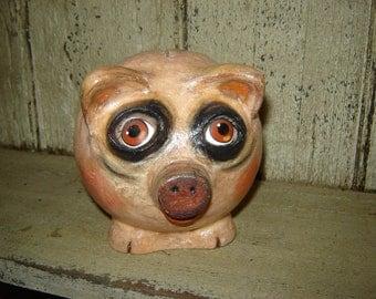 SALE Folk Art Piggy Bank paper clay pig pig sculpture.