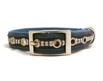 Spring Lake / Blue and gray adjustable dog collar with metal buckle -- Size M -- Last one