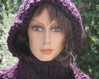 Hooded Scarf Scoodie Sparkling Plum Wine Crocheted Knit