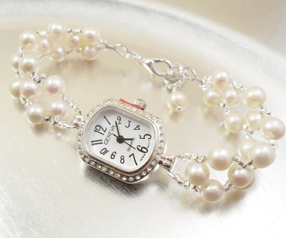 Beaded Bracelet Watch - Cream Freshwater Pearl Bracelet Watch in Silver