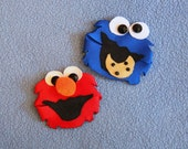 Little Monster, Hair Clip, Bow, Sesame Street Inspired, Cookie, Elmo, Oscar