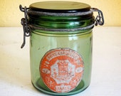 vintage French canning jar, green glass with hinged lid, l'Ideale brand
