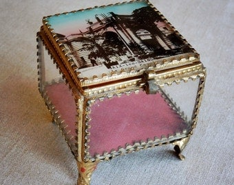 antique French jewelry box, glass and brass, hand tinted souvenir