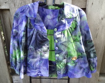 Embroidered Cotton Batik Cropped Jacket