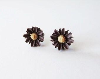 Chocolate brown daisy stud post earrings in sterling silver  Itty bitty earrings
