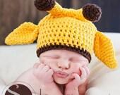 Newborn Baby Giraffe Photo Prop Hat, Yellow and Brown Giraffe Hat