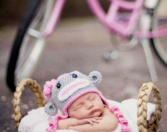 Grey and Pink Newborn Baby Girl Sock Monkey Hat, 0 to 3 month Winter Hat Photo Prop