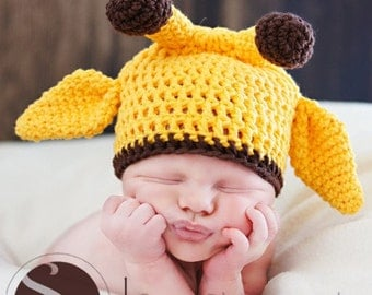 Newborn Baby Giraffe Hat Photo Prop, 0 to 3 Month Photo Prop Baby Hat