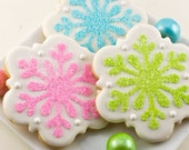 Snowflake Cookies, Winter Holiday - 12 Decorated Sugar Cookies