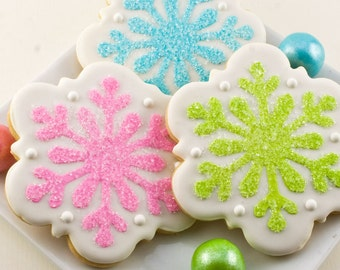 Snowflake Cookies, Frozen Party, Winter Christmas Cookies - 12 Decorated Sugar Cookies