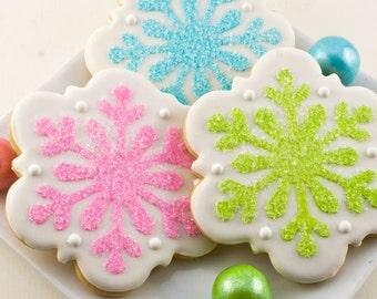 Snowflake Cookies, Frozen Party, Winter Christmas Cookies - 12 Decorated Sugar Cookies
