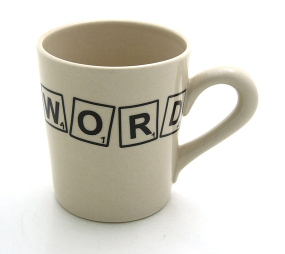 SALE Scrabble Mug with WORD large mug