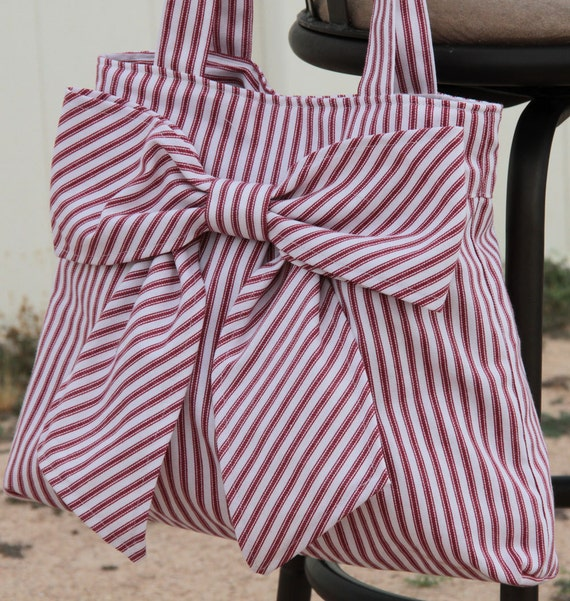 Red Striped Bow Bag / Purse w/ Double Handles
