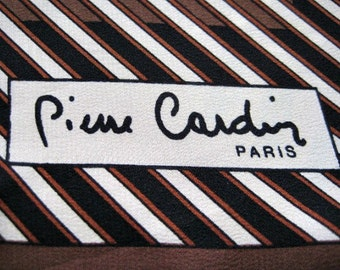 Brown Stripey Silk Pierre Cardin Square Scarf