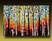 RESERVED TREE Painting Original Large Abstract Textured  Modern Palette Knife Impasto Contemporary Fine Art by Goldie Huge 36 X 24