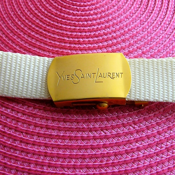 YSL belt - white woven nylon w/ gold logo buckle - dead stock vintage 70s or 80s - designer accessory chic