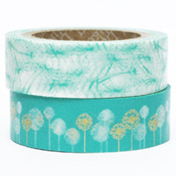 Decollections Masking Tape - Turquoise & Gold Flowers - Set 2 - Dandelion