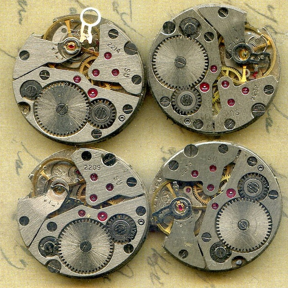 4 identical vintage watch movements...  to use in your assemblage  Steampunk or GEEK JEWELRY  4-38