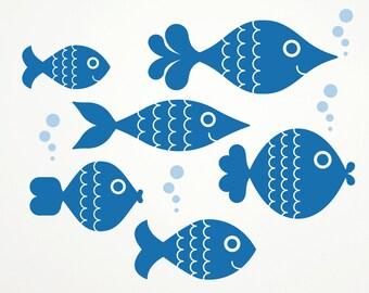 Ocean Big Fish Wall Decals, Kids Underwater Nursery: SWIM RIGHT