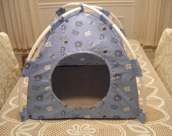 Small Handmade UNC Tarheels Pup Tent Pet Bed For Cats/ Dogs / Ferrets / Piggies  Or Used For A Toy Box / Barbie Doll House