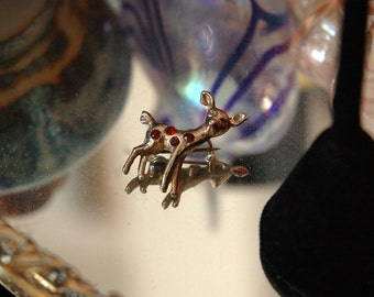Tiny Doe Scatter Pin, Bambi with Red Rhinestones, Gold Plated, Excellent Condition