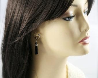 Lungo drop earrings - Onyx