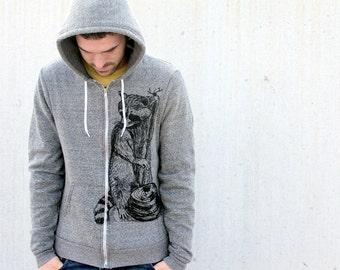 Mens Woodland RACCOON Peppered Grey Hoodie american apparel XS S M L (Custom Color Options)
