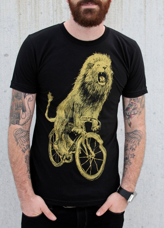 mens t shirt lion on a bicycle american by darkcycleclothing