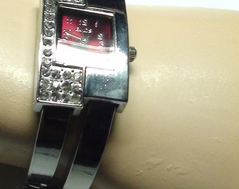 """Rhinestones Wrist Watch Early 1990's MODERNIST 1.25 x 1"""" Fancy  Face GLITSY and Glam  as Hollywood Jewelry On SaLe Now"""