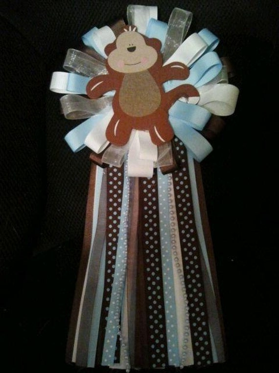 baby shower corsage boy monkey mum