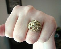 Vintage 18 KT HGE gold organic roots cocktail ring- size 6.5