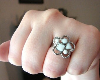 Silver and white flower ring- fully adjustable