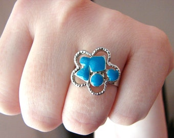 Silver and blue flower ring- fully adjustable