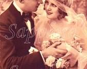DIGITAL DoWNLOAD of FReNCH Antique 1920s Postcard of Couple Wedding Art Deco Paris FRaNce VinTage Printable IMAge Bride Groom LoVE