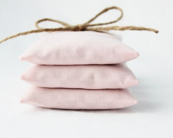 Blush Pink Lavender Sachets, 2nd Wedding Anniversary Gift for Her, Cotton, Fragrant Drawer Freshener Pillows