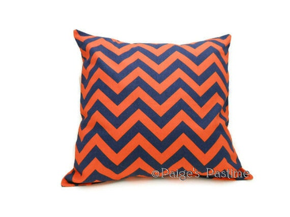 Decorative Pillows Blue And Orange : Decorative Pillow Blue and Orange Pillow Chevron Pillow