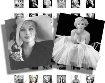 Black and white Marilyn Monroe for scrabble pendant, scrapbook and more Size 0.75x0.83 inch Digital Collage Sheet No.1016