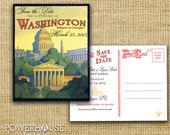 Vintage Washington DC Postcard Save the Date