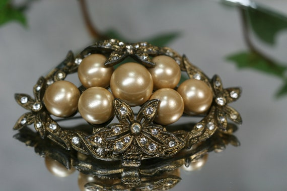 Vintage Goldtone Faux Pearl and Rhinestone Large Brooch