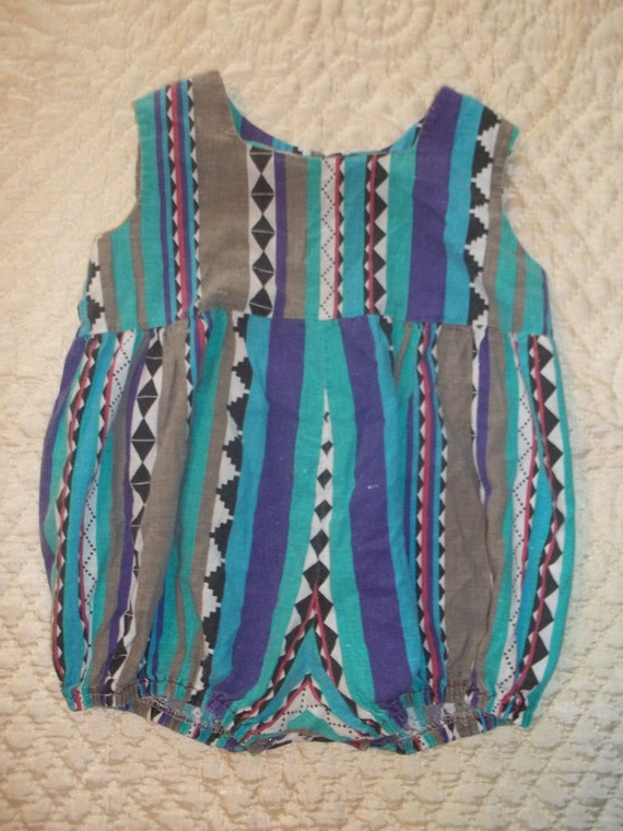 SALE darling vintage baby girls one piece tank sleeves romper in colorful tribal design