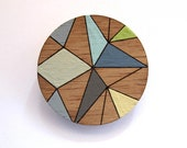 Hand painted timber brooch - geometric Kaleidescope design