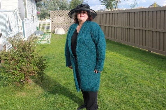 Ready to ship /Handmade Knitted Magic Emerald /Deep Forest Luxury Mohair Winter Coat/ Full length/fits sizes M/L/XL/ 2XL/ Line with satin