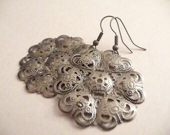 Silver & Gray Flower Charm Earrings