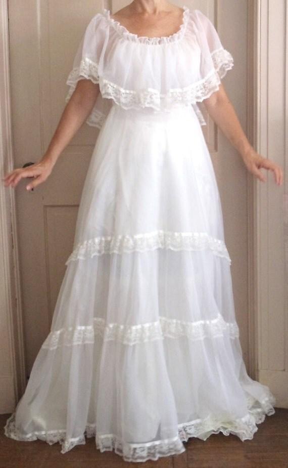 Vintage 1970s Boho Style Wedding Gown