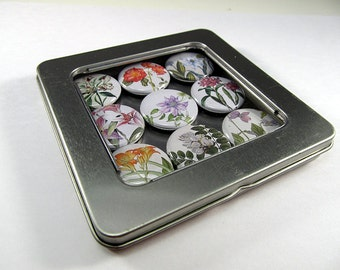 Botanical Flower Magnets / Refrigerator Magnets / Locker Magnets / Ready for Gift Giving