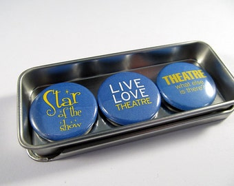 Theater Magnets Set 2 / Actor / Actress / Stage / Magnet Trio