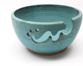 Bridges Pottery Large Yarn Bowl  Knitting Bowl Turquoise IN Stock showcased in Vogue Knitting