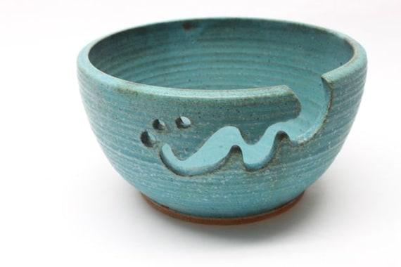 Bridges Pottery Large Yarn Bowl  Knitting Bowl Turquoise IN Stock showcased in Vogue Knitting